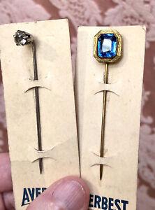 LOT-2) VTG 1930s Art Deco Gent's AVERBEST STICK PINS On Cards *BLUE EMERALD-CUT+