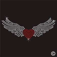 Angel Heart Wings Rhinestone Diamante Transfer Iron On Hotfix Motif Applique Gem