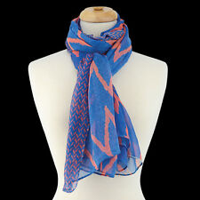 Blue and Orange Chevron Fashion Scarf