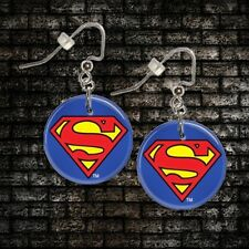 "**SUPERMAN** 1"" Button Dangle Earrings **FREE PIN** ~~USA Seller"