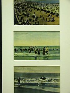 3 Old Matted Post Cards CONEY ISLAND BROOKLYN NY #11