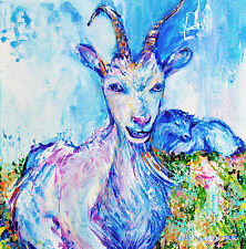 "'Blue Billy Goats Gruff' -12x12"" art print on 80lb paper"