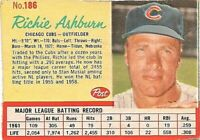 1962 Post Baseball Card #186 Richie Ashburn Chicago Cubs