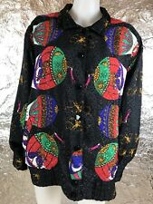 Women's Vintage 1980's Colorful Silky Bold Print Satin Jacket, Size L, Pre-Owned