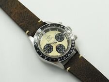 Alpha Daytona Paul Newman Panda Dial Chronograph Watch With Vintage Look Band