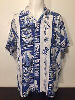 Vintage 50s Nassau Bahamas Cabana Shirt L Blue White Island Natives Diving Fish