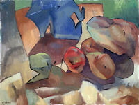 "Cubist Abstract Still Life Original Signed Oil Painting 18""x24"" on Canvas"