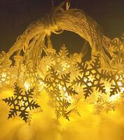 3M 20 LED Yellow snowflake LED String Christmas Wedding Party Fairy Lights