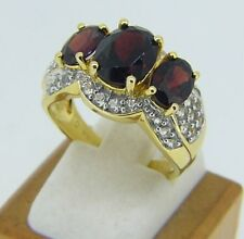 5.4 Grams Gold Plated Sterling Silver Garnet & White Sapphire Ring Size 7 Q54