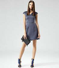 New REISS Lavender Blue Anouk Structured Fit & Flare Cocktail Dress Size 8 BNWT