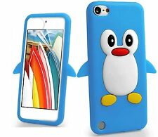 PINGUINO BLU GOMMA IN SILICONE BACK CASE COVER SKIN per iPod Touch 6