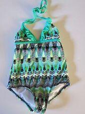 NWT Hurley Girls 6X Black White Green Ruffle Swimsuit 1 Pc Halter Tank Swim