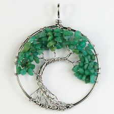 Natural Amazonite Chip Beads Tree of Life Silver Round Pendant For Necklace