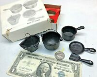 ⭐️Vintage Miniature Cast Iron Cookware Lot of 4 for doll house and hobby⭐️