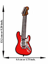 Red Guitar Music Song Note V05 Applique Iron on Patch Sew For T-shirt Jeans