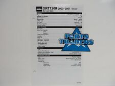 Yamaha Quick Reference Service Manual Data Sheet XRT1200 XR1800 2000-2001
