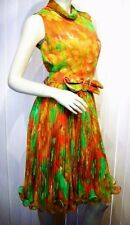 VTG 60s 70s CHIFFON PLEATED Vibrant FLORAL Garden PARTY DRESS M BLING Jack Bryan