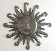 "Haitian Recycled Metal Drum Wall Art Rays of Sun Face 11"" Diameter 105SM424A"