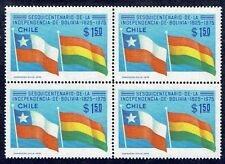 CHILE 1976 STAMP # 901 MNH BLOCK OF FOUR FLAG CHILE BOLIVIA FLAGS