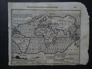 1608 HONDIUS  Mercator Atlas  WORLD THEMATIC map Designatio Orbis Christiani