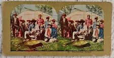 VINTAGE COLORIZED REAL PHOTO STEREOVIEW PHOTOGRAPH TITLED AMERICANIZED INDIANS