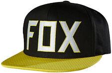 "NWT MEN'S FOX ""ASSIST"" SNAPBACK ADJUSTABLE HAT/CAP BLACK SIZE:ONE SIZE"