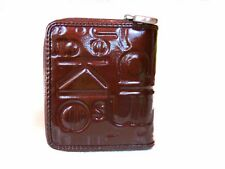 CK Calvin Klein Women's Fashion Embossed Engraved Brown Patent Purse Wallet AY83