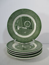 Colonial Homestead Royal China Bread Butter Plates Green Spinning Vtg Set of 6