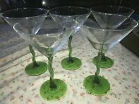 """5 Libbey Courbe Clear w/ Green Crooked Wavy Stem Martini Glass 7 5/8"""" Tall 10 oz"""