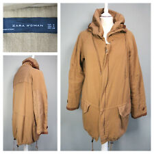 ZARA WOMAN Coat Size S UK 10 Parka Cotton Golden Brown Lined Loose Fit A843