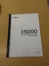 Nikon D5000 Dgital Cámara plenamente Impreso Manual de usuario Guía Manual 256 páginas A5