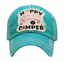 ADJUSTABLE HAPPY CAMPER BASEBALL CAP HAT BLACK BLUE PINK BEIGE/OFF WHITE CAMO