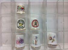 Vintage Lot 6 Porcelain Thimbles & Case Royal Doulton Royal Albert, Theodor Paul