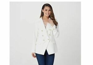 Linea by Louis Dell'Olio Women's Blazer Plus 18 Faux Pearl Buttons Ivory A378656