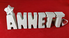 Beton, Steinguss Buchstaben 3D Namen Schriftzug ANNETT als Geschenk verpackt