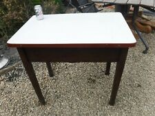 More details for vintage enamel topped oak table working mangle - stored inside collect ba14
