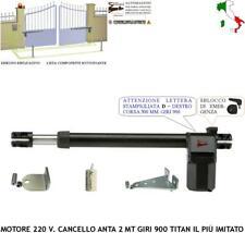 CANCELLO BATTENTE MOTORE DESTRO 230 V GIRI 900 CORSA 300 MM COMPATIBILE FAAC BFT