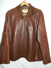 Women's Size XXL/2XL EDDIE BAUER Brown GENUINE Cowhide Leather Zip Jacket Coat