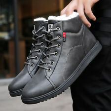 fashion winter boots men shoes warm fur snow boots pu leather winter ankle footw
