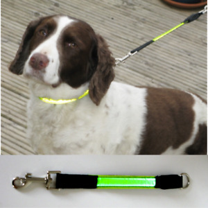 LED Dog Lead Extension Hi-Vis Viz Visibility Flashing Safety Light up Reflective