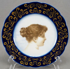 Jean Pouyat Limoges Sevres Style Hand Painted Cobalt & Gold Portrait Plate
