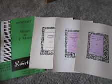 VTG PIANO SHEET MUSIC 4 PCS MOZART MINUET & TRIO IN C ALLEGRO IN F MAJOR +