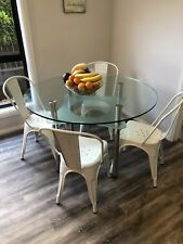 Nick Scali Round Glass Table And Replica Chairs