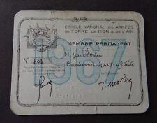 Carte de membre CERCLE NATIONAL DES ARMEES TERRE MER AIR 1967 visit card