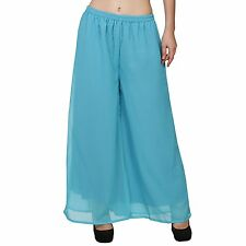 New Womens Plus Size Flared Palazzos Trousers Wide Leg