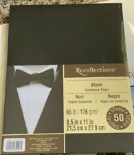 """Recollections Cardstock Pack 8.5"""" x 11"""" Black 50 pk New"""
