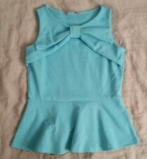 EX CON A Wear ASOS Size M Top Tank Office Casual Bow Detail Pastel Blue Peplum