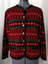 Vintage Red/Green/Black Patterned Sweater with Gold Buttons