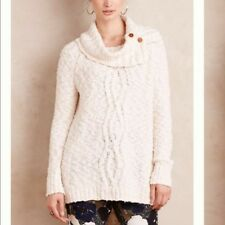 Moth Anthropologie Beige Wood Button Cowl Neck Chunky Knit Sweater Size XS-B22