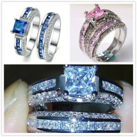 Women 925 Silver Pink Sapphire/White Topaz /Sapphire Wedding Party Ring Size5-10